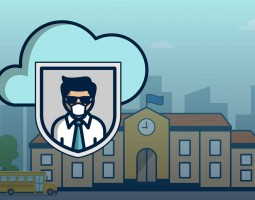 cybersecurity for education - graphic of man wearing mask above school with skyline