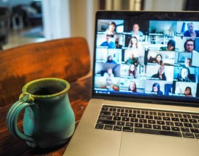 coffee and large zoom meeting-how to avoid zoom fatigue